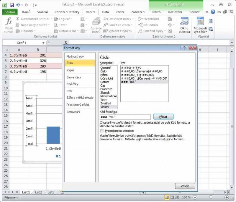 Excel 2010 - vlastní formát