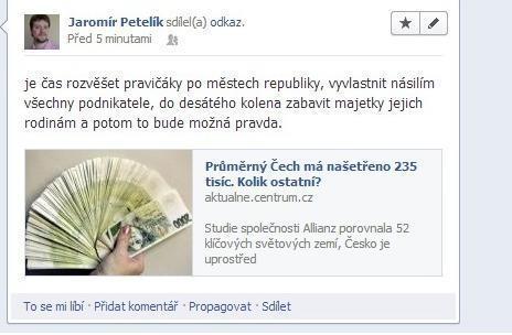 Příspěvek Petelíka podle Tyden.cz