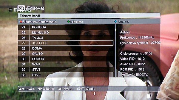 V tomto okně Editace si můžeme na pravé straně zjistit vše o zvoleném kanálu. Po zadání hesla zde můžete zamknout jednotlivé kanály, upravit jejich hlasitost (zelené tlačítko), nebo smazat (modré tlačítko).