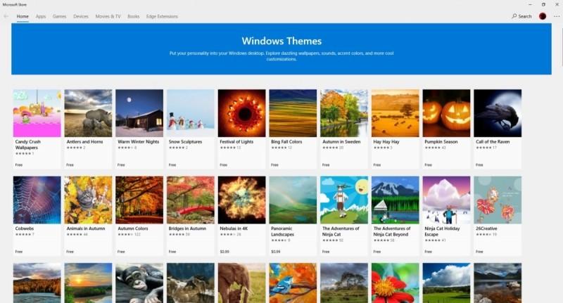 Pokud jste fanoušek do fotografií, pak určitě budete spokojen s obsahem části vyhrazené v Microsoft Store motivům. Jeden tip pro vás: Ke zmiňovaným motivům se dostanete pouze přes okno Nastavení. Přes hlavní aplikaci Store to aktuálně jednoduše nejde.