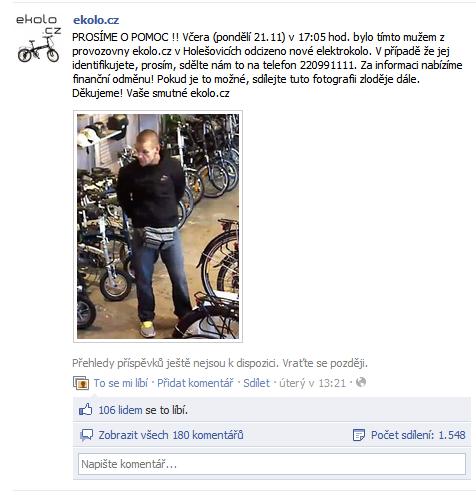 """Tímto """"inzerátem"""" na Facebooku hledáme nového majitele našeho kola, který nestihl zaplatit."""