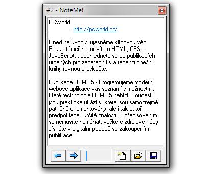 NoteMe je jednoduchý textový editor s podporou zvýrazňování URL