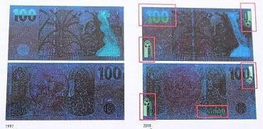 Porovnání staré a inovované emise 100 Kč bankovky pod ultrafialovým světlem. Inovovaná emise má mimo jiné doplněný ornament, který připomíná gotické okno.