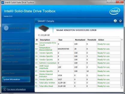 Intel Solid-State Drive Toolbox vám prozradí stav vašeho SSD disku