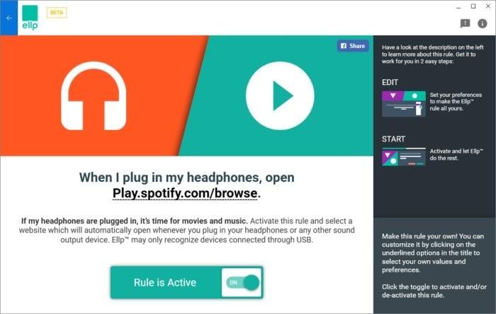Funkce programu Ellp, která otevře internetovou stránku v okamžiku, kdy k počítači připojíte sluchátka