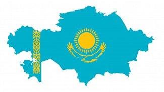 Kazachstán vlajka mapa