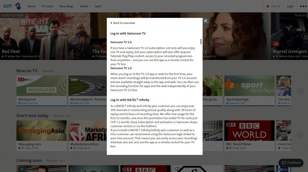 Swisscom TV Air - nastavení služby