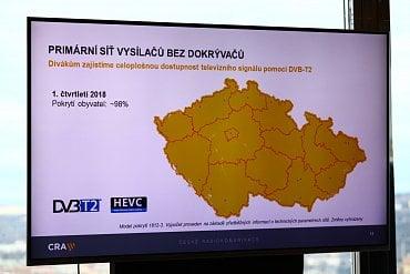 Primární síť DVB-T2 vysílačů ČRa bez dokrývačů (z prezentace Marcela Procházky - pro zvětšení klikněte na obrázek).