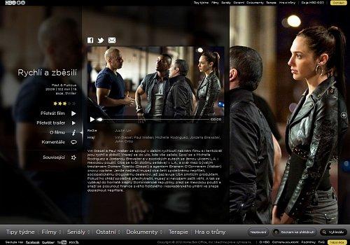 Ve videotéce HBO GO je možné najít i filmy, například Rychlí a zběsilí.