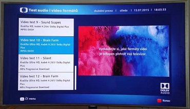 V HbbTV na ČT nově najdete i test A/V formátů s dvanácti zvukovými a obrazovými kodeky, včetně Ultra HD/HEVC. Televizor všechny zvládl na jedničku a doufejme, že to ČT vydrží protože je to ideální test.