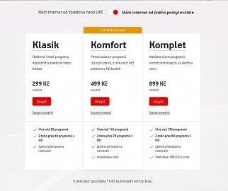 """Standardní tarify Vodafone TV bez zvýhodnění """"Internet od Vodafone/UPC"""""""