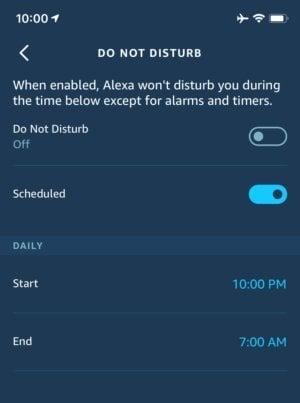 Když si nastavíte dobu, v níž vás vaše zařízení Echo nemá rušit, budete mít jistotu, že vás Alexa nevzbudí třeba někdy v noci.