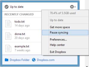 Dropbox dokáže v případě potřeby pozastavit synchronizaci