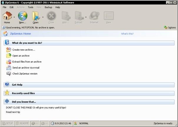 ZipGenius nahradí jiné kompresní programy