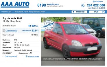 Toyota Yaris. Screenshot z nabídky stejného vozidla po výkupu v AAA Auto za 39 500 Kč.