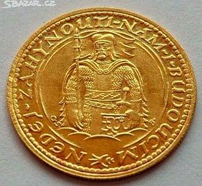 Inzerce zlaté mince svatováclavského dukátu z roku 1931 na Sbazar.cz. Zlato 986/1000, průměr 19,75 mm, 3,49 g. Nabízená cena 13 800 Kč (04/2017)