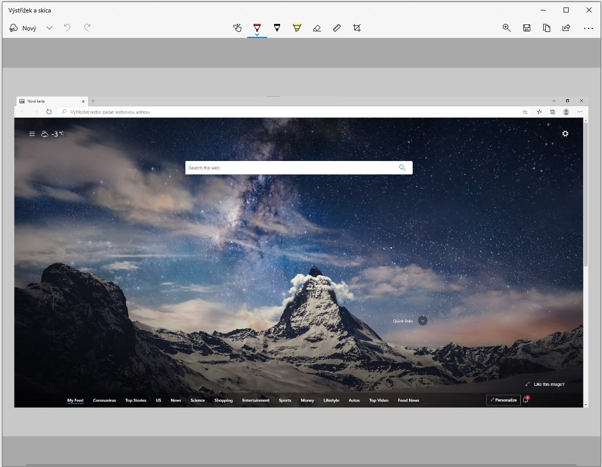Výstřižek a skica - screenshot okna Microsoft Edge