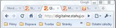 Klasické ikony pro ovládání prohlížeče