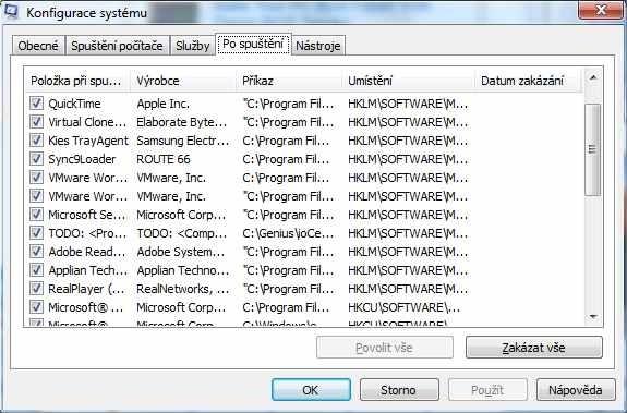 Většina těchto pomocníku se při startu operačního systémů vůbec spouštět nemusí