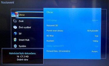 Menu Obraz se standardními volbami tak, jak si je přehrávač nastavil po instalaci. Jak vidíte, převzorkování na UHD je vypnuto.