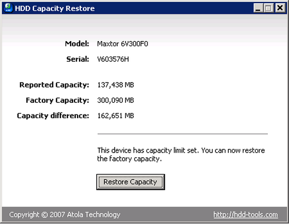 HDD Capacity Restore Tool dokáže obnovit plnou kapacitu pevného disku