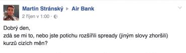 Air Bank potichu zhoršila kurzy platebních karet a klientům se to moc nelíbí.