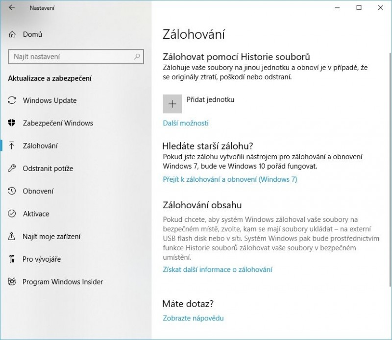 Funkce Historie souborů ve Windows 10 před svým povolením