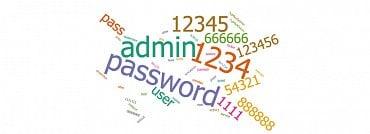 Příklady nevhodných hesel, které je při instalaci nového zařízení nutné pokaždé změnit.