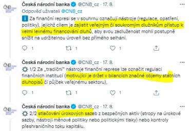 Úřad ČNB tweetuje a shrnuje, co obnáší politika finanční represe. Velmi levné financování dlužníků, nízké úrokové sazby a finanční instituce motivované držet vládní dluhopisy.