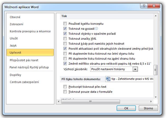MS Word 2010 - tisk