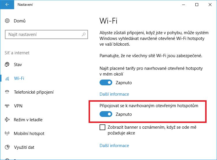 Připojování k otevřeným hotspotům ve Windows 10