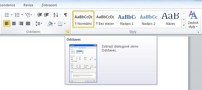 MS Word 2010 - odstavec