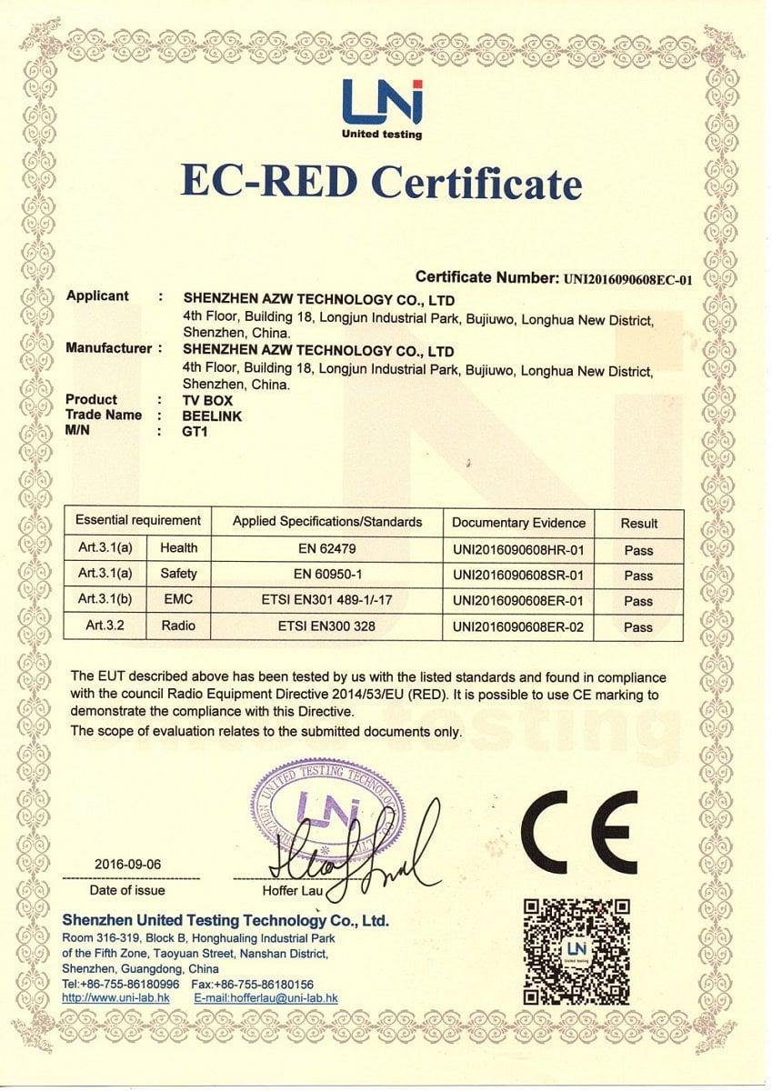 Oficiální certifikáty přístroje