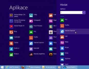 Alternativní zobrazení nabídky Start ve stylu Windows 8