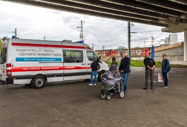 Lékařské auto pro bezplatné očkování v Zelenogradu, 2017