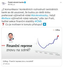 Úřad ČNB prostřednictvím oficiálního blogu i tweetů komunikuje, že výše vzniklého zadlužení bude zřejmě znamenat nástup politiky finanční represe.