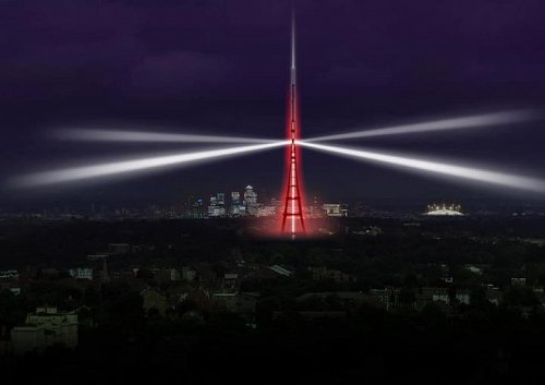 Londýnský vysílač dostal při příležitosti vypnutí analogového vysílání speciální osvětlení.