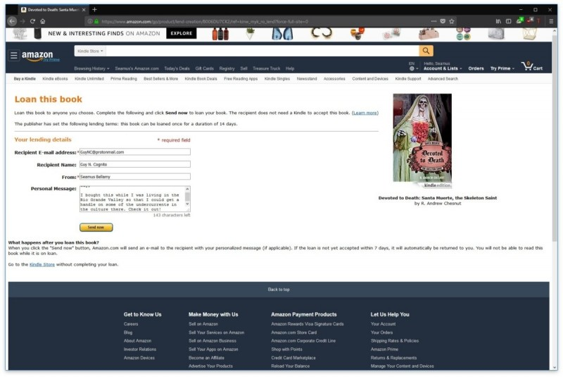 Firma Amazon možnost půjčení knihy svým přátelům nijak nepropaguje, nicméně touto funkcí disponuje a je to funkce doslova skvělá