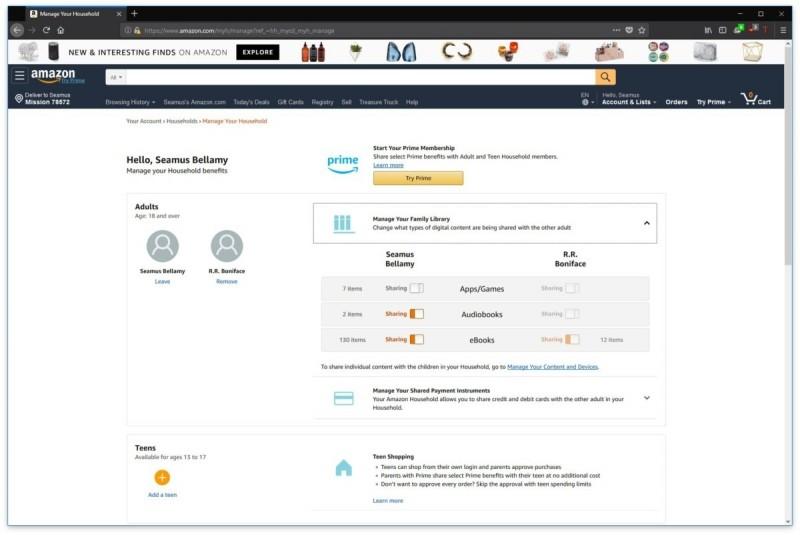 Amazon umožňuje sdílení e-knih mezi dvěma dospělými v jedné rodině. Když si tedy jeden z vás koupí e-knihu, může ji po nasdílení číst i jeho protějšek