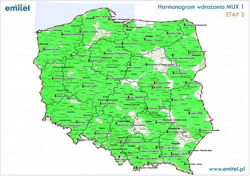 Mapa pokrytí signálem polského multiplexu 1, která je dostupná na stránkách telekomunikačního operátora Emitel, bohužel neukazuje přesah na české území.