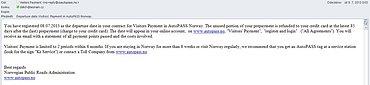 Automaticky zaslaný e-mail po projetí mýtnicí.