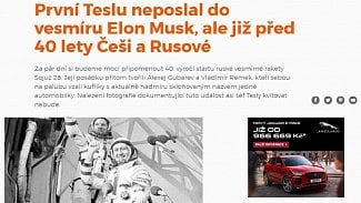 Lupa.cz: První Teslu měl v kosmu Remek! Web nepoznal vtip