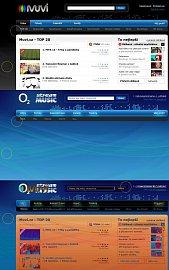 Porovnání webu Muvi.cz a Music Stream.cz v původní podobě. Zakroužkovány jsou chyby, jaké vznikají třeba v případě, když se změní barva podkladu a autor nemá k dispozici původní PSD.