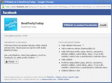 """Pouhou volbou """"Přihlásit se pomocí Facebooku"""" odsouhlasí uživatel vše do posledního písmenka."""