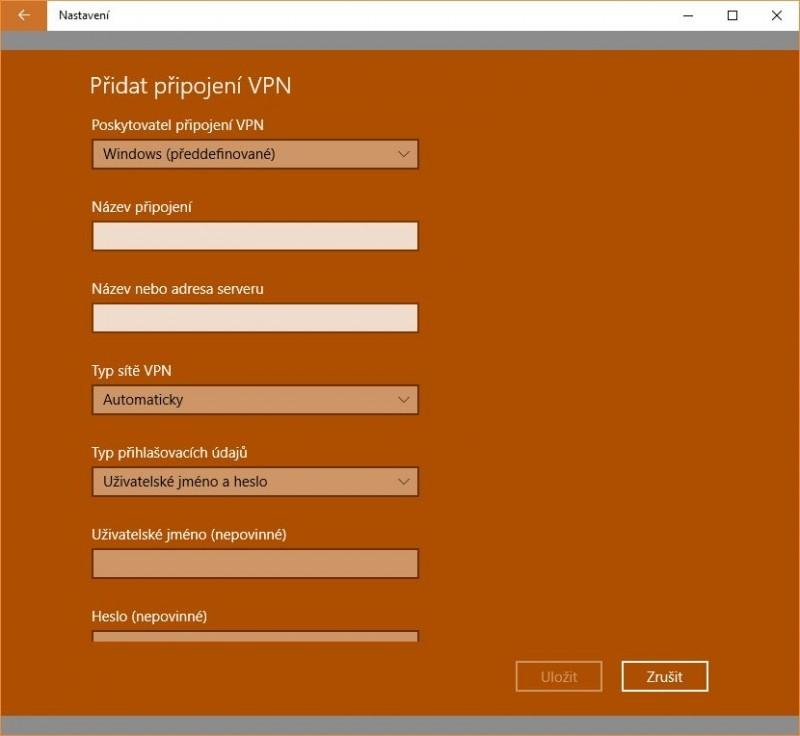 Okno pro konfiguraci klienta VPN integrovaného ve Windows 10