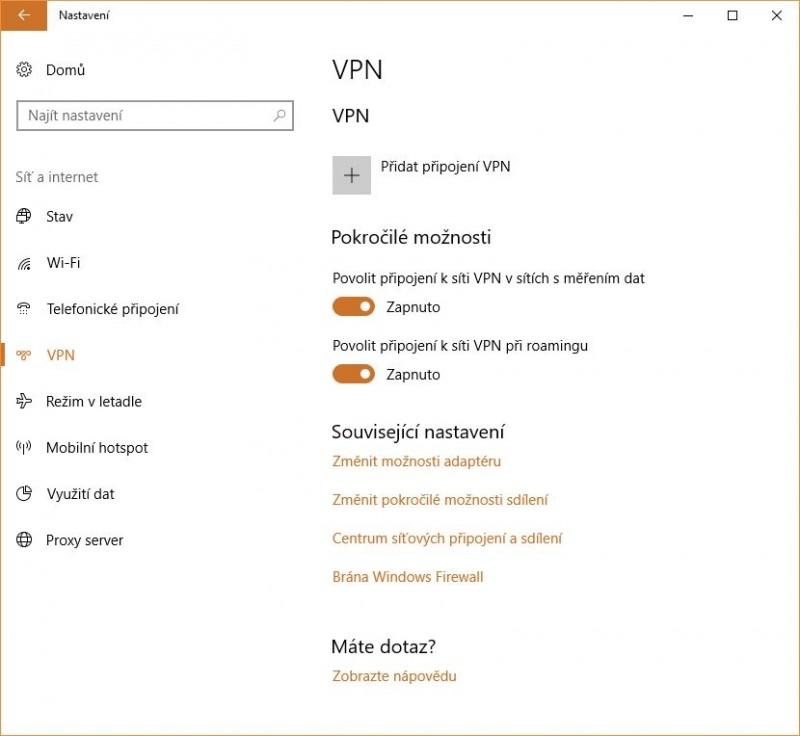 Nastavení klienta sítě VPN integrovaného v operačním systému Windows 10