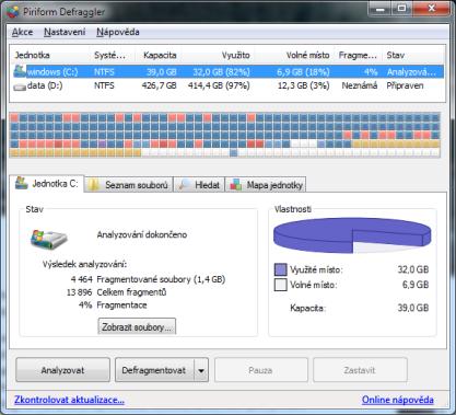 Defraggler seřadí soubory na disku