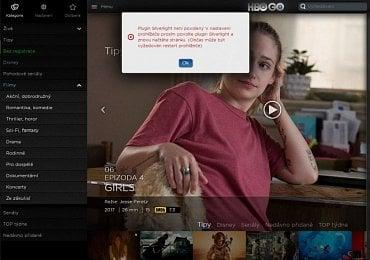Mozilla Firefox 50 stále pro HBO GO vyžaduje spustitelný (nebo spuštěný) modul Silverlight.