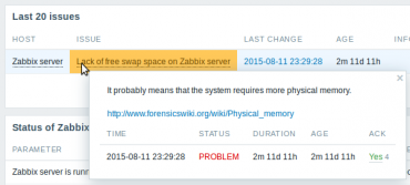 Zabbix 3.0 trigger description dashboard