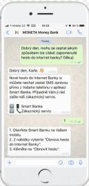 Komunikace s bankou přes WhatsApp.